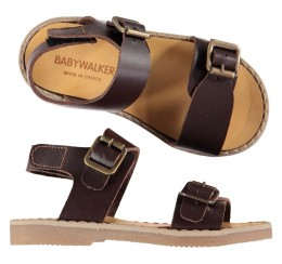 Babywalker 棕色金属扣凉鞋