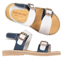 Babywalker 蓝白拼色金属扣凉鞋