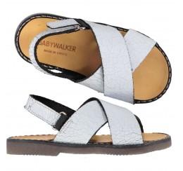 Babywalker 白色爆裂纹交叉凉鞋