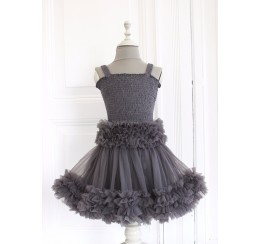 DOLLY by Le Petit Tom  FRILLY SET SKIRT & TOP Dark Grey