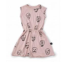 NUNUNU 粉色骷髅连衣裙